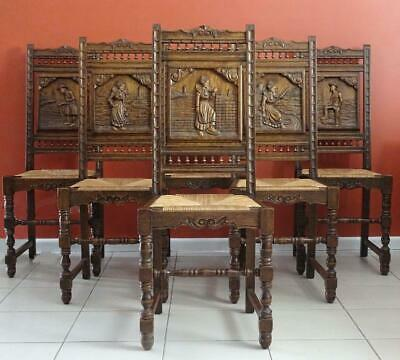 Antique French Brittany Dining Kitchen  Chairs , Set of 6 in Oak c1880