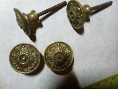 brass knobs x 4, solid brass, Spain, 30 mm, without nuts, reclaimed