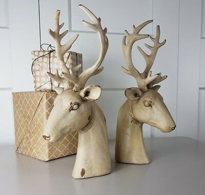 Elegant Cream Distressed Deer Head Bookends - Stag Bookends