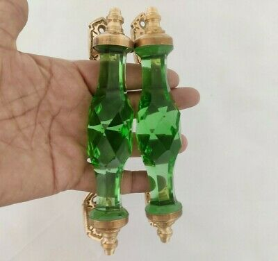 Pair Vntg. Look Light Green Victorian Cut Glass and Brass Pull Push Door Handle