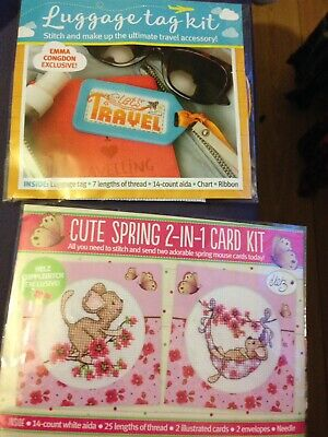 CROSS STITCH CARD KIT 2 IN 1 SPRING MOUSE CARD KIT UNOPENED MAKES 2 Cards