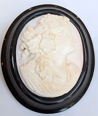 Antique Victorian Large Whitby Jet & Shell Cameo Brooch Pin Beautiful Maenad