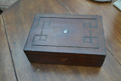 small brass and silver inlaid work box for restoration