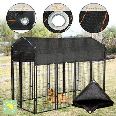 Outdoor Pet Cage Cover Wind Screen Dog Kennel 80% Sun Shade Crate Protector Roof