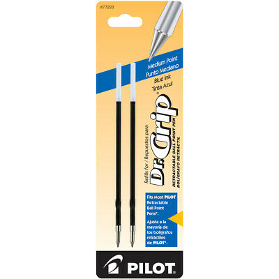 Dr. Grip Retractable Ball Point Pen Ink Refills, Medium Point, Blue Ink, 2 Pack