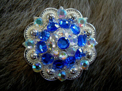 4 Conchos Rhinestone Horse Saddle Western Rodeo Bridle Berry Blue CO43