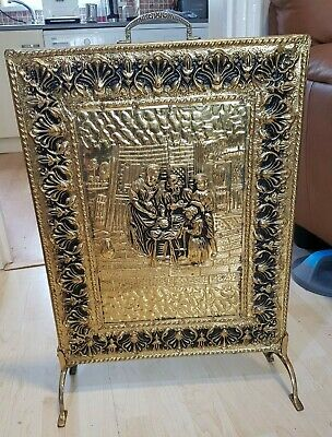 Vintage Fire Screen Guard Front Embossed Home Scene Panel Wood Back