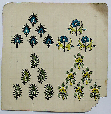 Vintage Old Designs handmade Textile floral leafs antique collectibles