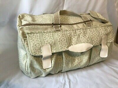 HANDMADE Large Holdall Duffel Bag Luggage Holidays UNIQUE Green Beige BNWT