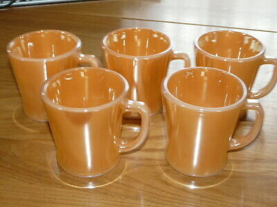 5 Vintage Fire King Peach Lustre Mugs Coffee Cup Anchor Hocking - USA