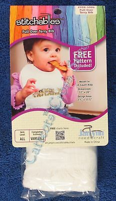 "Cross Stitch Baby Bib White Velour With Aida Insert Janlynn 12"" x 20"" Soft"