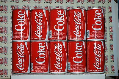 BELGIUM 10 OLD Coca-Cola cans from late 70's cans-boîtes-dozen-latas-blikken