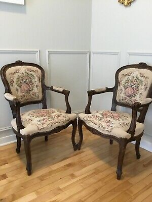 Pair Of French Provencial Style Needlepoint Chairs