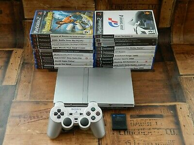 Sony Playstation 2 Silver Slim Console Bundle w/ 20 Games + Controller PS2