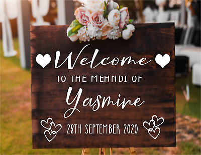 Personalised MEHNDI wedding Party welcome sign mirror Vinyl Decal Sticker V547