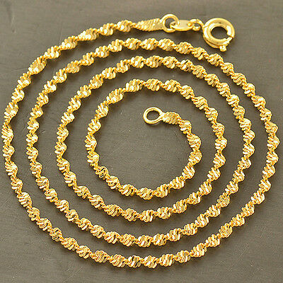 Fashion Womens Yellow Gold Filled Water Wave Chain Long Necklace Jewelry 18in