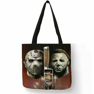 Horror Movie Freddy Krueger Jason Chucky Killers Linen Tote Bag Halloween Bag