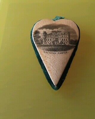 Mauchline Ware Heart Form Pin Cushion with Print of Gelston & Threave Castles.