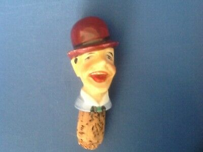 Vintage Character Continental Porcelain Novelty Bottle Stopper of a Laughing Man