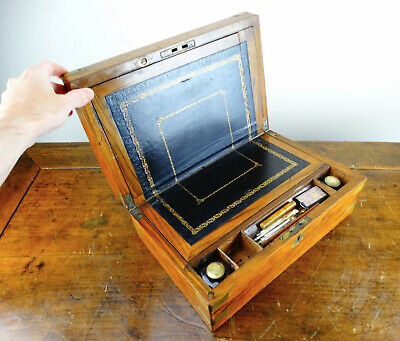 Antique Victorian Writing Slope in Mahogany Brass Bound Box with Secret Drawers