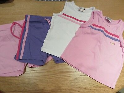Next girls short and tshirt set pink/purple and white in age 2 years