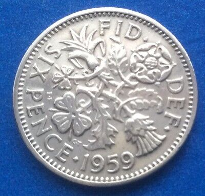 """1959 Queen Elizabeth Ii """"Lucky Tanner"""" Sixpence Coin 61St Birthday / Anniversary"""