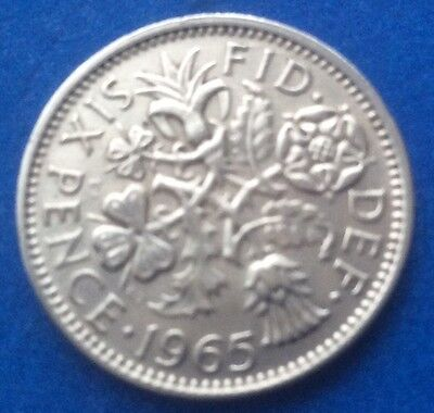 """1965 Queen Elizabeth Ii """"Lucky Tanner"""" Sixpence Coin 55Th Birthday / Anniversary"""