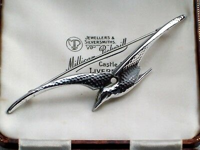 Vintage Jewellery Art Deco Hammered Chrome Stylised Seagull Bird Brooch/Pin