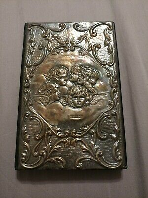 Sterling Silver Cherub Angels Black Leather Art Nouveau Address Book Never Used