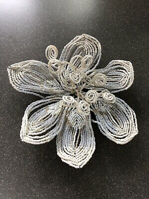 Large Antique French White & Opaline Seed Beaded Flower Decoration