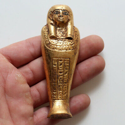 Circa 300 Bc Intact Egyptian Gold Plated Shabti Statue
