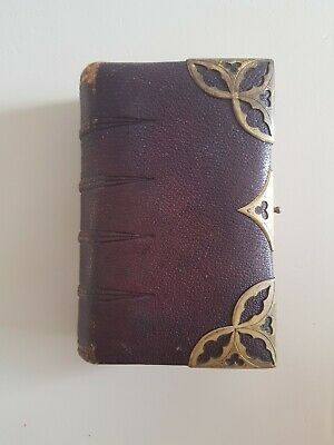 Antique 19th C Victorian Leather And Brass Bound Church Services Book Christian