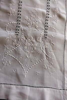 Antique long white Irish linen table runner  -hand embroidery & drawnthread