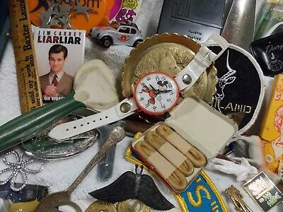 Huge Vintage Mixed Junk Drawer Lot-Tokens-Pins-Collectibles-Advertising-Knives-M
