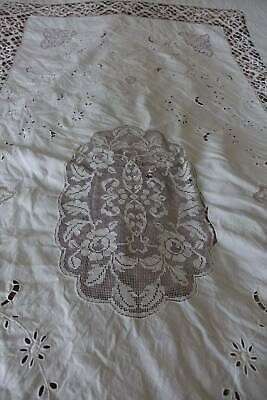 Antique white Irish linen tablecloth with filet & bobbin lace & hand embroidery.