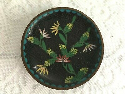 Vintage Chinese Cloisonne Small Round Trinket Pin Dish