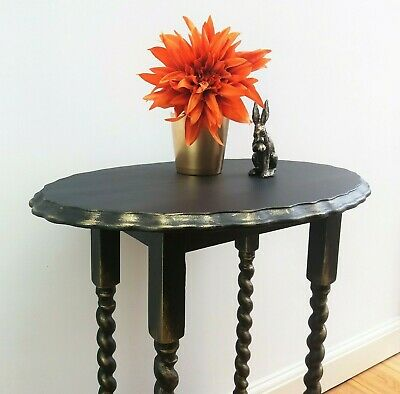 Barley Twist Side Table in Black & Gold / Oval Pie Crust / Occasional Table