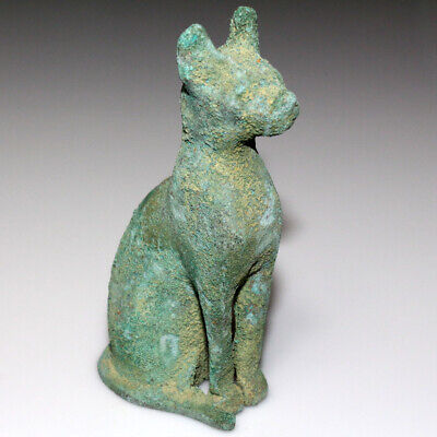 Circa 1000-500 Bc Egyptian Bronze Cat Goddess Statue - Large Size