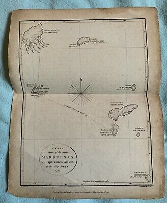1799 Chart of the Martquesas Map  Captain James Wilson on Ship  Durfee