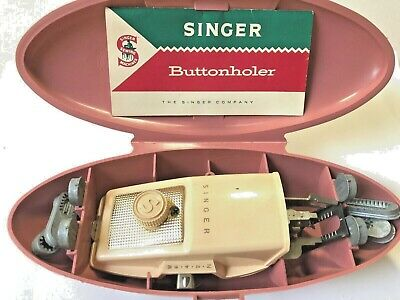 Vintage Singer Button Holer in Mauve Case For Singer Machine 1960 ~NICE
