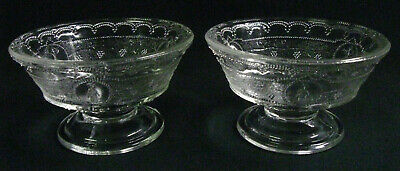 "Pair EAPG ""Minerva"" 1880s Antique Pattern Glass Sherbets / Footed Sauce Dishes"