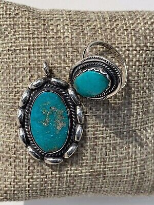 VINTAGE NAVAJO Ring and Pendant TURQUOISE STERLING SILVER Gift Box HAND MADE