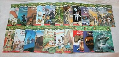Lot 21 Magic Tree House Paperback Books, 1-10, 13-14, 16-20, 24 & Research Guide