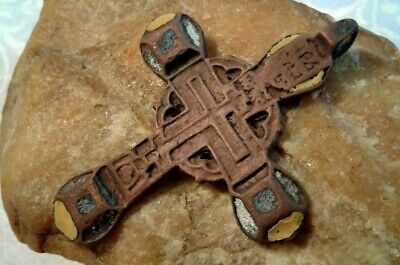 "RARE ANTIQUE 17-19th CENT. LARGE ""OLD BELIEVERS"" ORTHODOX CROSS 3-COLOR ENAMEL"