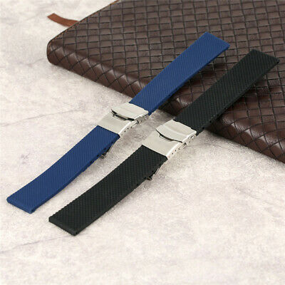 18/20/22/24mm Rubber Watch Band Silicone Strap Rplacement Safety Clasp Bracelet