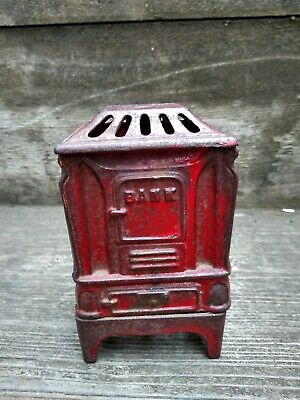 Red Metal Vintage Bank Marked on Bottom, Ohio