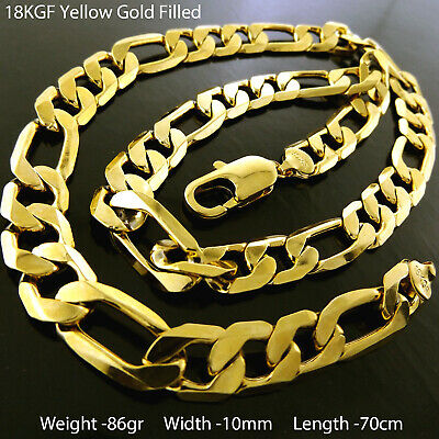 """Necklace Pendant Chain Real 18k Yellow G/F Gold Solid Belcher Link Style 18"""""""