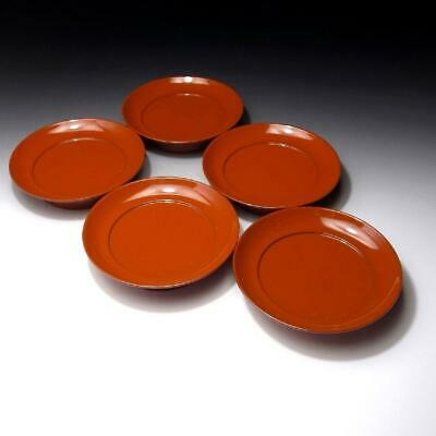 """CE7:  Vintage Japanese 5 Lacquered Wooden Tea Plates, Natural wood, Dia. 5.5"""""""