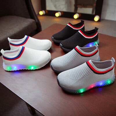 Kids Baby Boys Girls Sport Trainers Shoes LED LIGHT UP Luminous Casual Sneakers