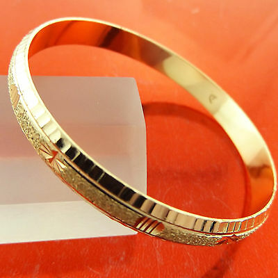Bangle Bracelet Real 18k Yellow G/F Gold Solid Antique Engraved Cuff Design